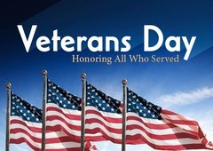 veterans day text on image with american flags